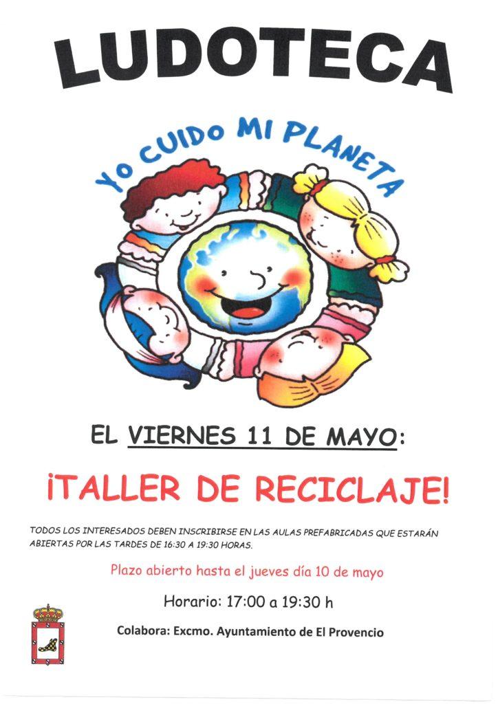El próximo viernes día 11 de mayo la ludoteca oferta el «TALLER DÍA DE RECICLAJE»
