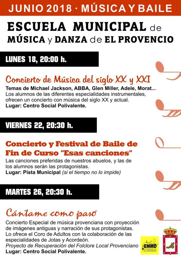 Programación de la Escuela Municipal de Música y Danza para los días 18, 22 y 26 de junio