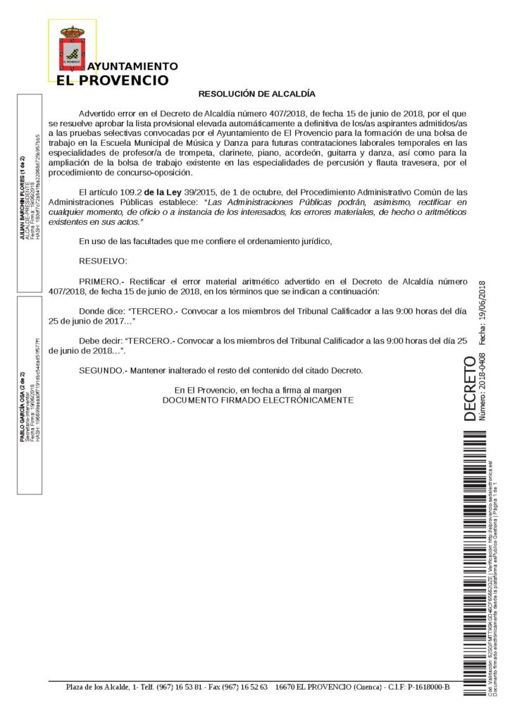 Decreto de Alcaldía número 408/2018 por el que se rectifica el Decreto 407/2018, de 15 de junio de 2018