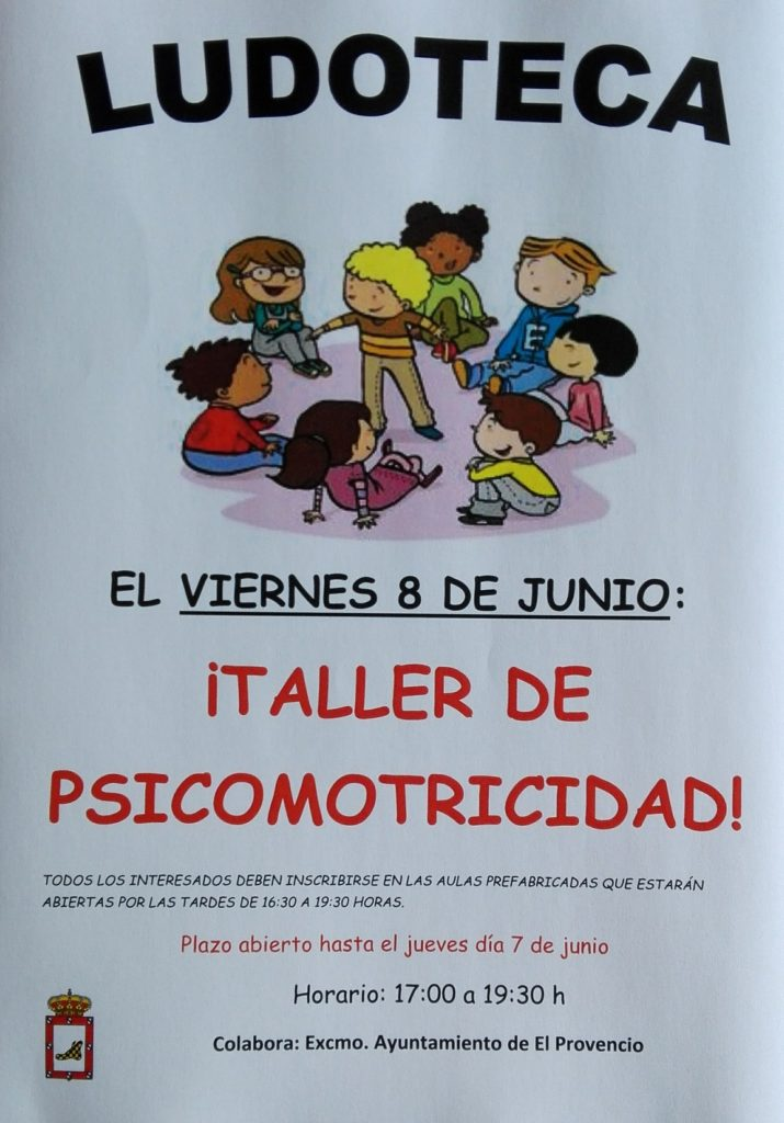 El próximo viernes día 8 de junio la ludoteca oferta el «TALLER DE PSICOMOTRICIDAD»