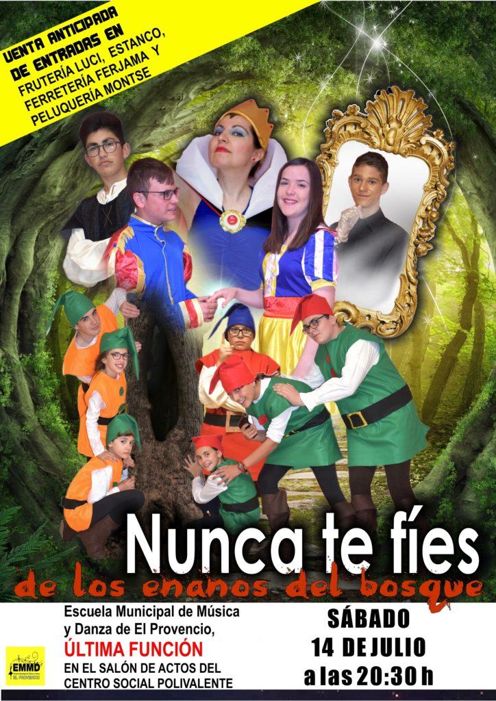 Este sábado día 14 de julio, a las 20:30 horas, última función de la obra«Nunca te fíes de los enanos del bosque»
