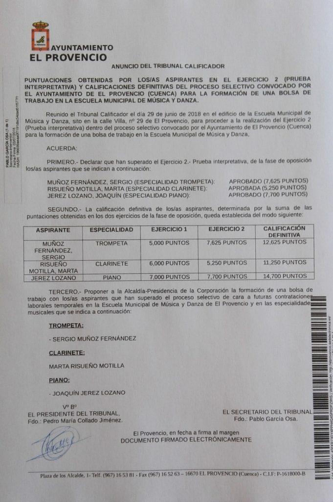 Anuncio del Tribunal Calificador de las pruebas selectivas convocadas para la formación de una bolsa de trabajo en la Escuela Municipal de Música y Danza de El Provencio