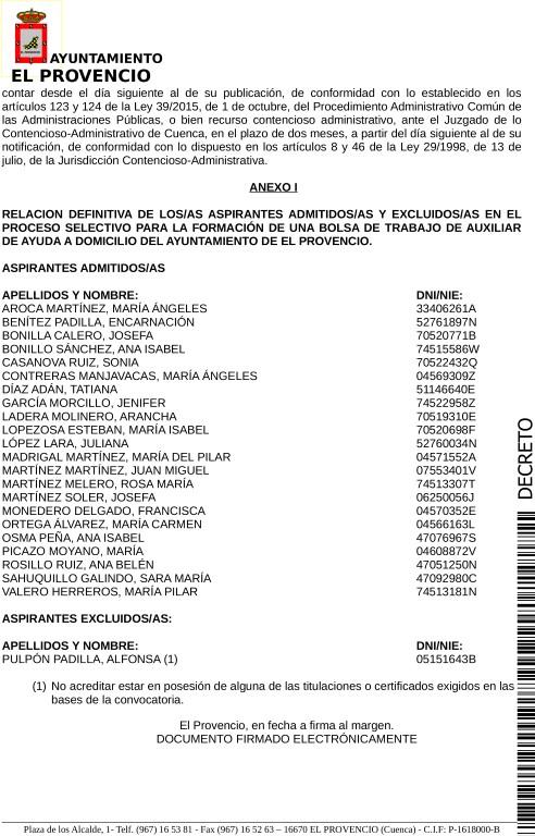 LISTAS DEFINITIVAS ADMITIDOS/AS PROCESOS SELECTIVOS PARA LA FORMACIÓN DE UNA BOLSA DE TRABAJO DE AUXILIAR DE AYUDA A DOMICILIO