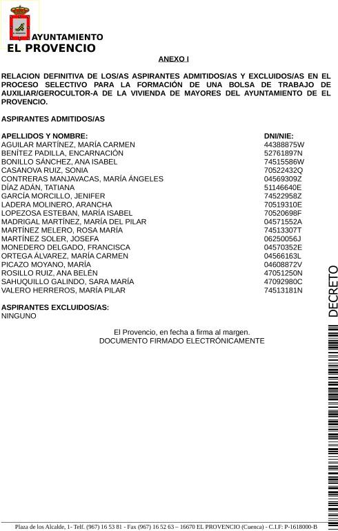 LISTAS DEFINITIVAS ADMITIDOS/AS PROCESOS SELECTIVOS PARA LA FORMACIÓN DE UNA BOLSA DE TRABAJO DE AUXILIAR-GEROCULTOR VIVIENDA MAYORES