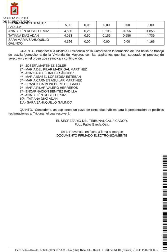 Anuncio calificaciones definitivas aspirantes proceso de selección para la formación de una bolsa de trabajo de auxiliar/gerocultor-a de la Vivienda de Mayores.