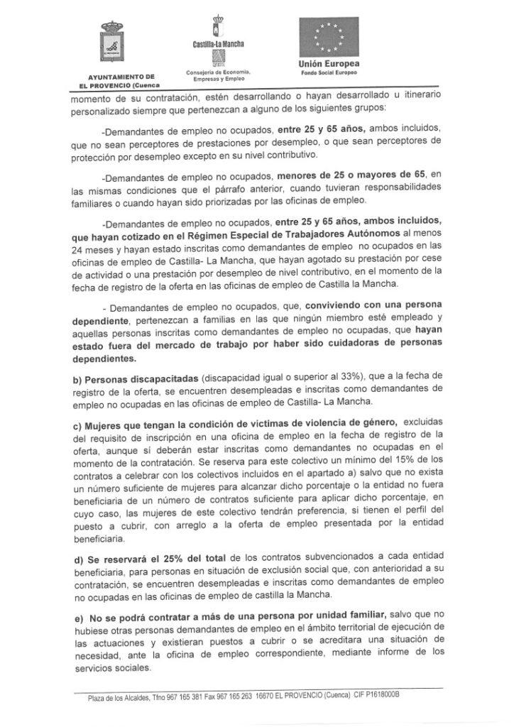 CONVOCATORIA PÚBLICA Y BASES PARA LA SELECCIÓN DE TRABAJADORES/AS EN RÉGIMEN LABORAL TEMPORAL AL AMPARO DE LA CONVOCATORIA DE SUBVENCIONES PARA LA CONTRATACIÓN DE PERSONAS DESEMPLEADAS, ESPECIALMENTE PARADAS DE LARGA DURACIÓN Y EN SITUACIÓN DE EXCLUSIÓN SOCIAL, COFINANCIADA POR EL FONDO EUROPEO. PLAN DE EMPLEO CLM 2018 (DOCM Nº82, DE 27 DE ABRIL 2018)