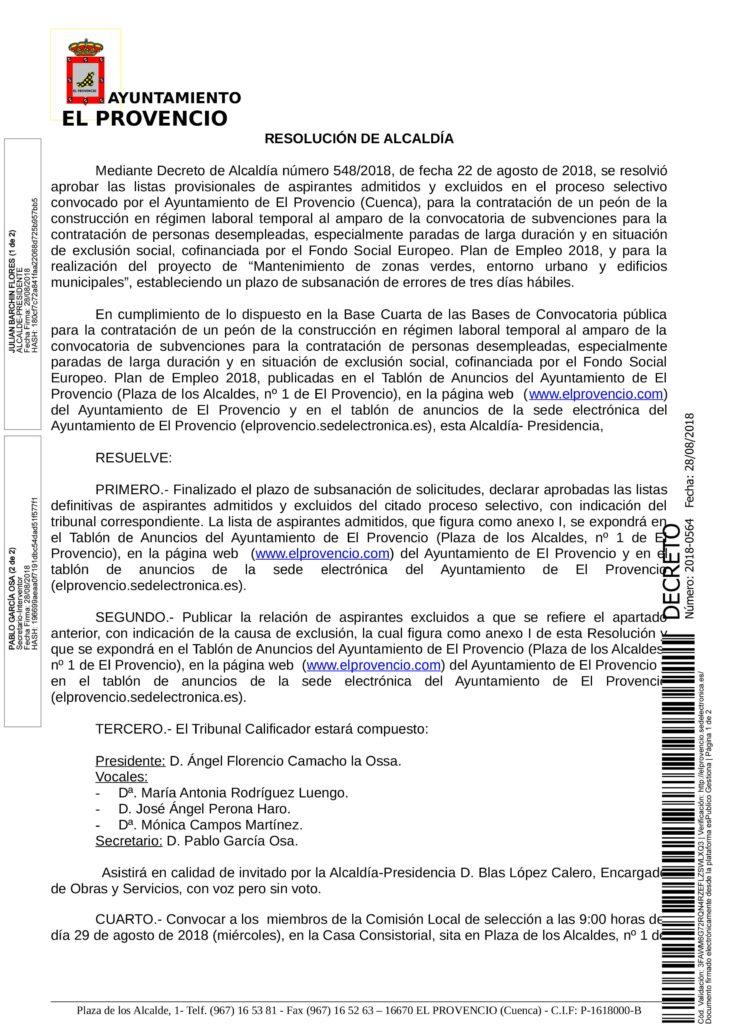 RESOLUCIÓN APROBANDO LISTA DEFINITIVA UN PEÓN CONSTRUCCIÓN