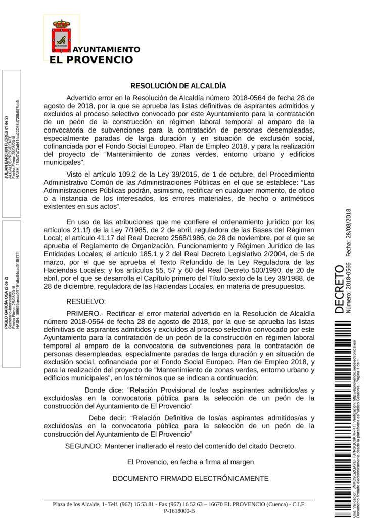 RESOLUCIÓN SUBSANADA LISTA DEFINITIVA UN PEÓN DE LA CONSTRUCCIÓN