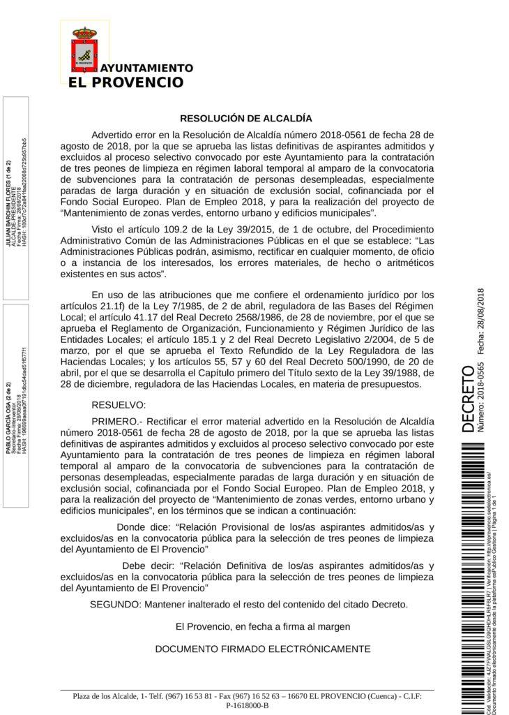 RESOLUCIÓN SUBSANADA LISTA DEFINITIVA TRES PEONES DE LIMPIEZA