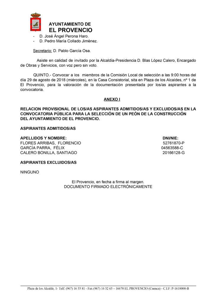 Decreto 548/2018, de 22 de agosto, por el que se resuelve aprobar la lista provisional de admitidos/as y excluidos/as del proceso de selección y posterior contratación de un peón de la construcción dentro del Plan Extraordinario por el Empleo 2018.