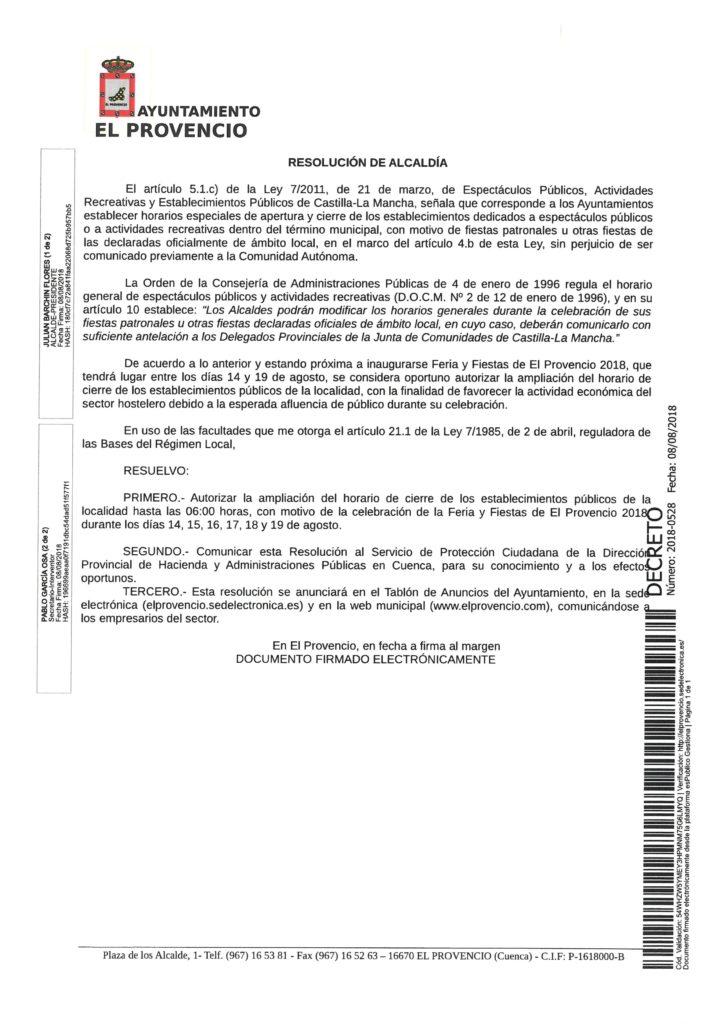 Decreto de Alcaldía por el que se resuelve autorizar la ampliación del horario de cierre de los establecimientos públicos hasta las 06:00 horas durante las fiestas patronales