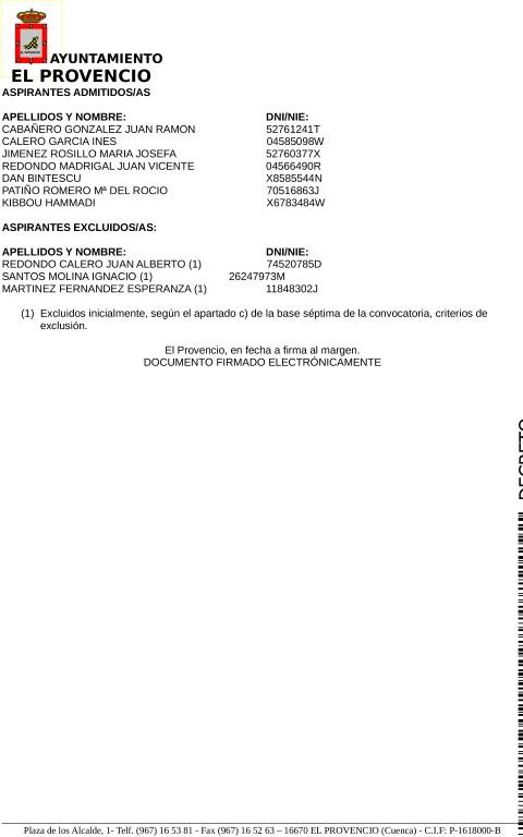 """LISTA PROVISIONAL DE ASPIRANTES ADMITIDOS/AS Y EXCLUIDOS/AS PARA OPTAR A LA SELECCIÓN DEL PROYECTO DENOMINADO """"RECUPERACIÓN DE ZONAS Y VERDES Y MEJORAS EN EL ENTORNO URBANO"""""""