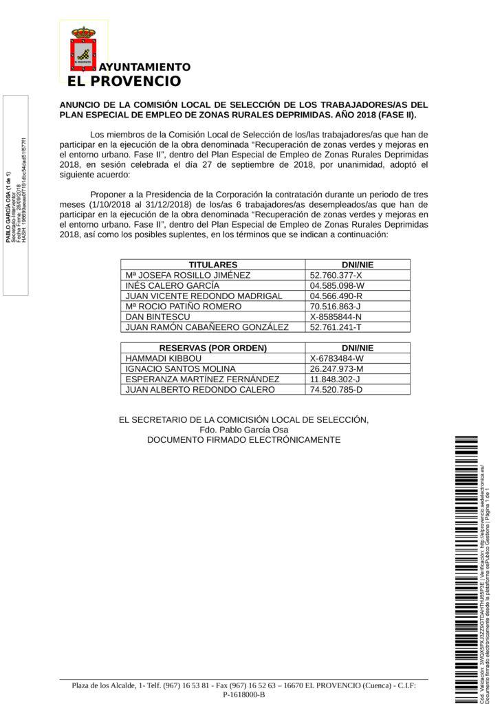ANUNCIO DE LA COMISIÓN LOCAL DE SELECCIÓN DE TRABAJADORES