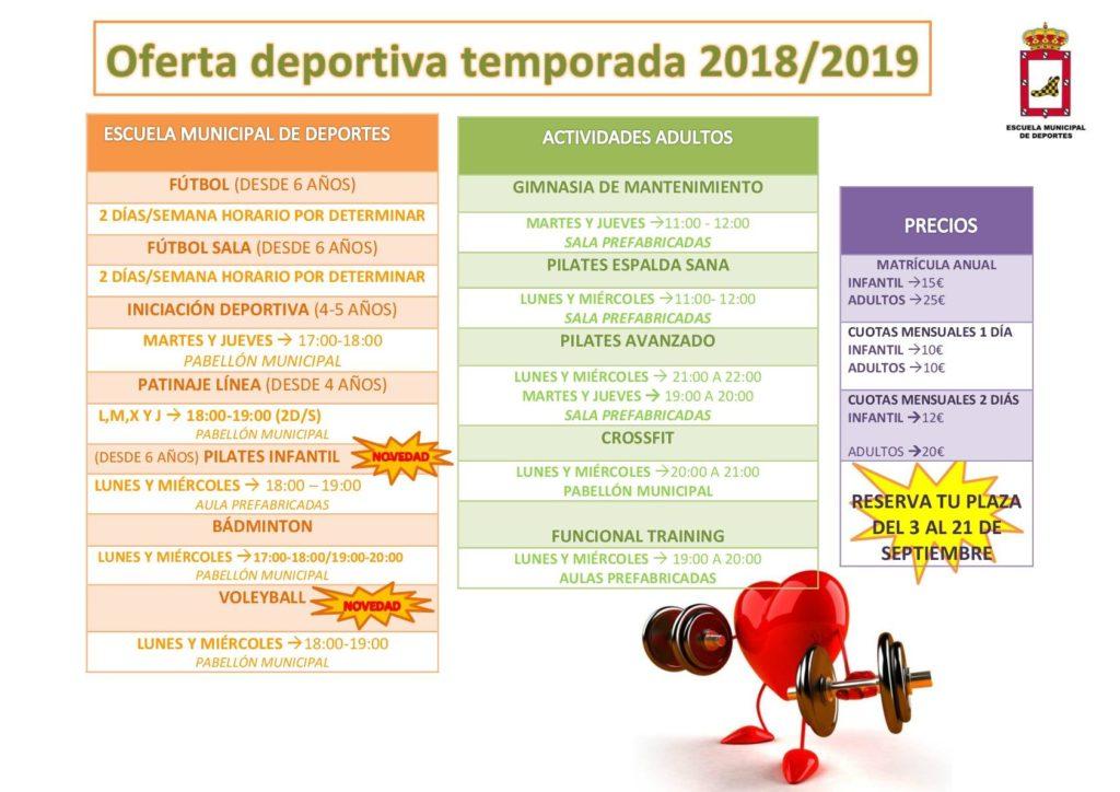 Se abre el plazo único de matrícula de la Escuela Municipal de Deportes desde el 3 hasta el 21 de septiembre