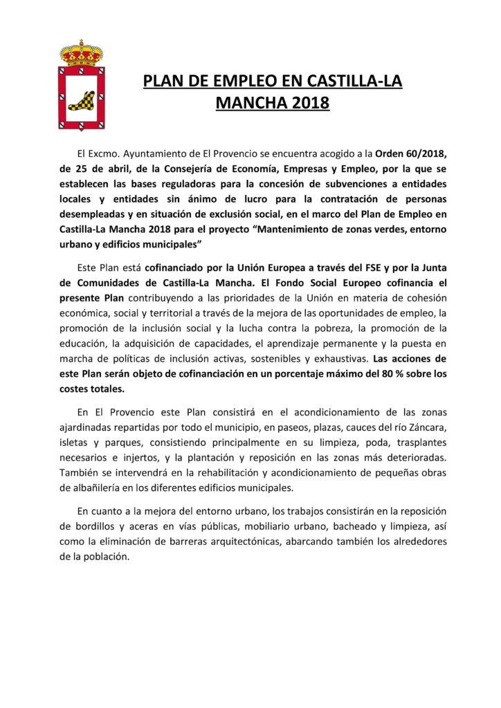Plan de empleo en Castilla-La Mancha 2018