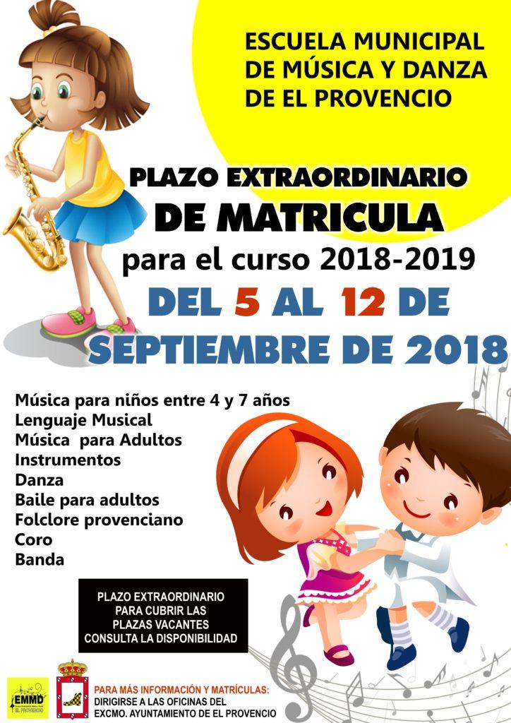 Se abre el plazo extraordinario de matrícula de la Escuela Municipal de Música y Danza desde el 5 hasta el 12 de septiembre