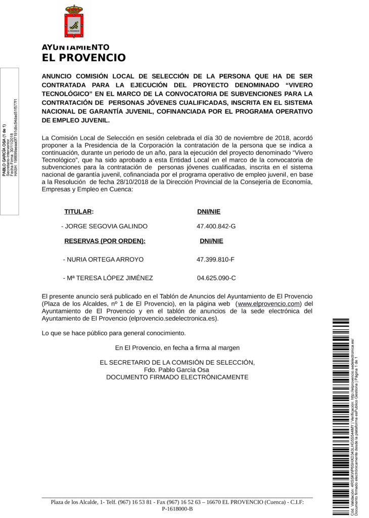ANUNCIO COMISIÓN LOCAL – CONTRATACIÓN DE PERSONAS JÓVENES CUALIFICADAS PARA CREACIÓN DE VIVERO TECNOLÓGICO