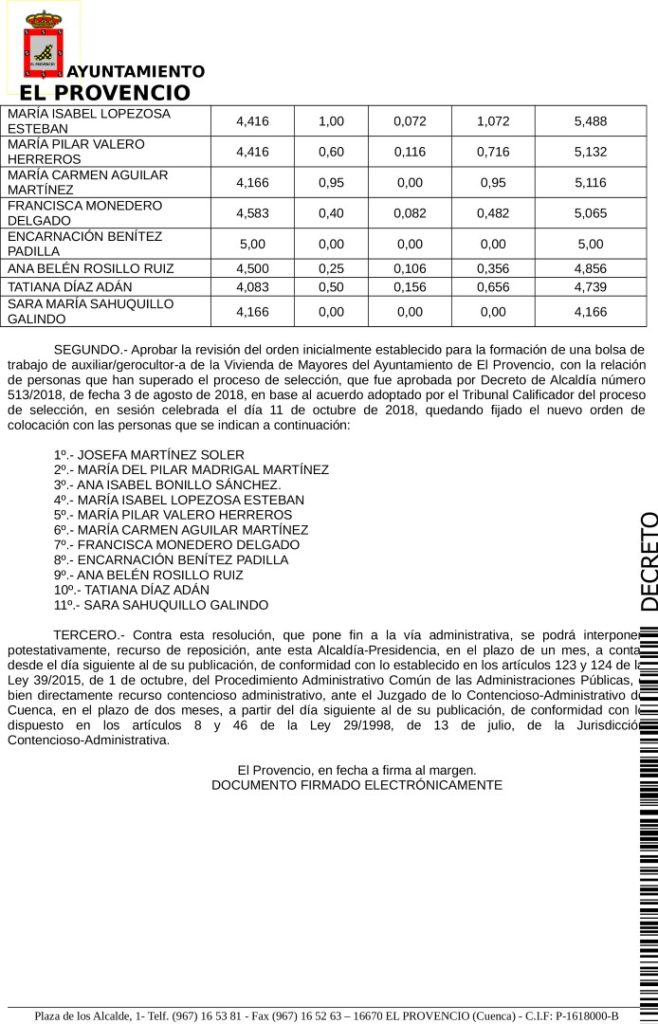 BOLSA DE TRABAJO AUXILIAR/GEROCULTOR