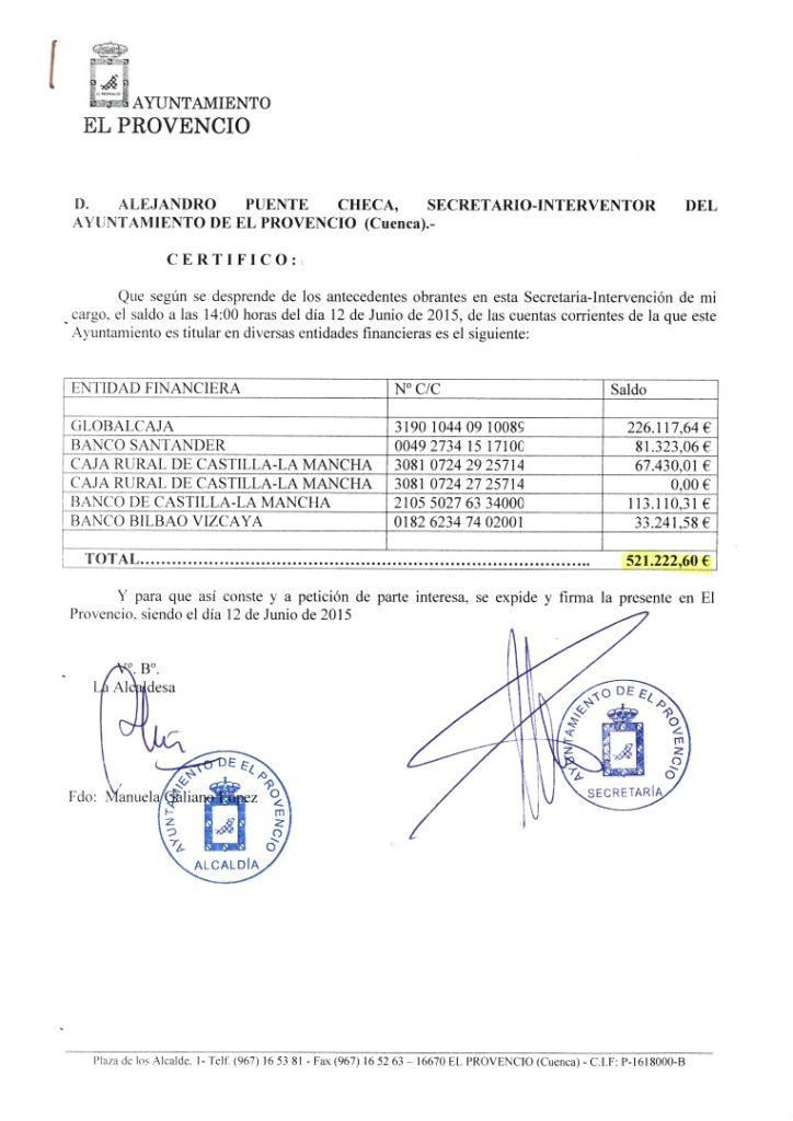 INFORMACIÓN PÚBLICA – ESTADO DE CUENTAS A 12-6-2015