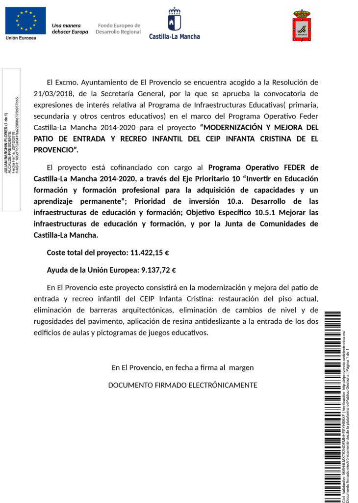 MODERNIZACIÓN Y MEJORA DEL PATIO DE ENTRADA Y RECREO INFANTIL DEL CEIP INFANTA CRISTINA DE EL PROVENCIO