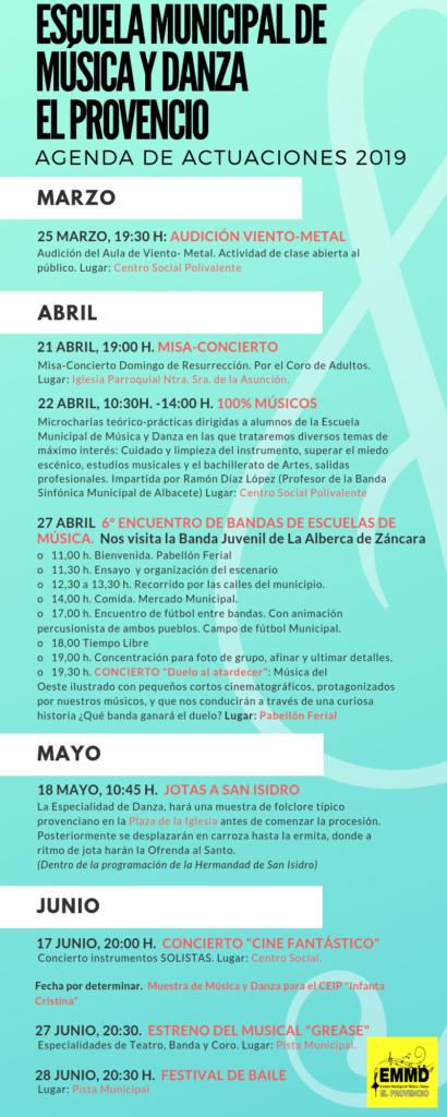 Agenda de actuaciones 2019 de la Escuela Municipal de Música y Danza de El Provencio