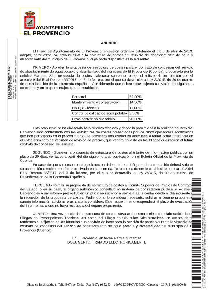 Anuncio de aprobación de la estructura de costes del servicio de abastecimiento de agua y alcantarillado; Reglamento de abastecimiento de agua potable, alcantarillado y vertidos del municipio de El Provencio