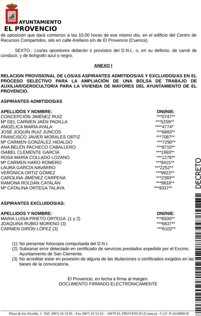 RESOLUCIÓN APROBANDO LISTA PROVISIONAL DE ASPIRANTES ADMITIDOS Y EXCLUIDOS BOLSA AUXILIAR GEROCULTOR