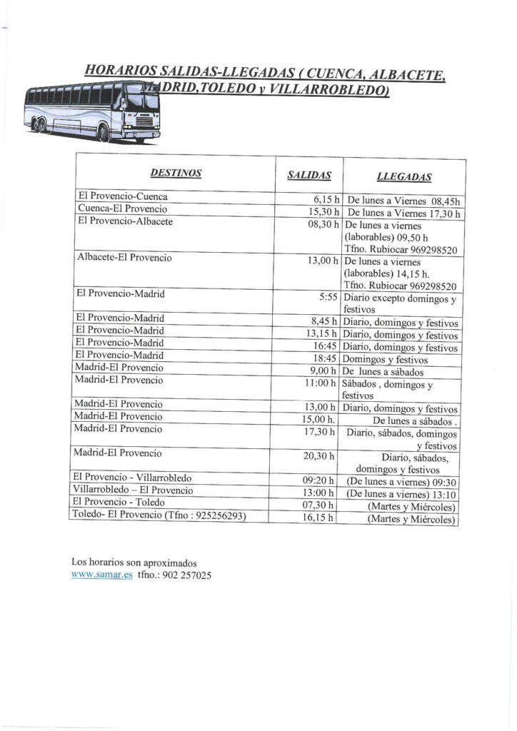 Nuevos horarios de autobuses (actualizados a 10/05/2019)