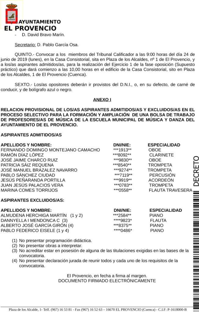 Listado provisional admitidos excluidos proceso selectivo profesores escuela municipal música y danza.