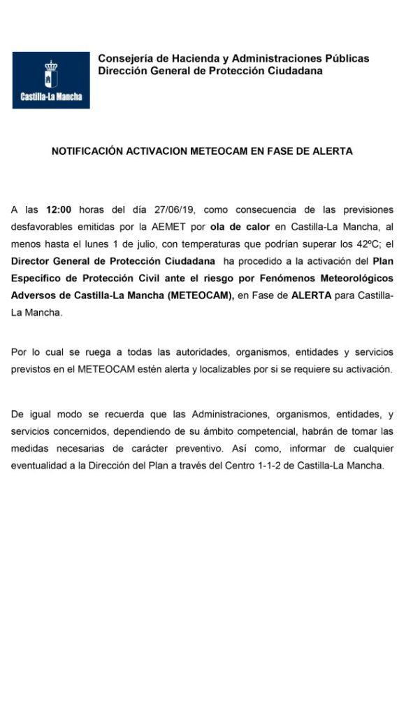 ATENCIÓN!!!! MUY IMPORTANTE!!!!!!!! ACTIVACIÓN DE FASE DE ALERTA POR OLA DE CALOR  Gracias por su atención.