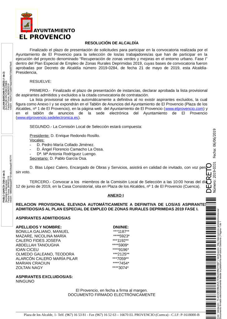 LISTADO DE ADMITIDOS AL PLAN ESPECIAL DE EMPLEO DE ZONAS RURALES DEPRIMIDAS 2019 – FASE I
