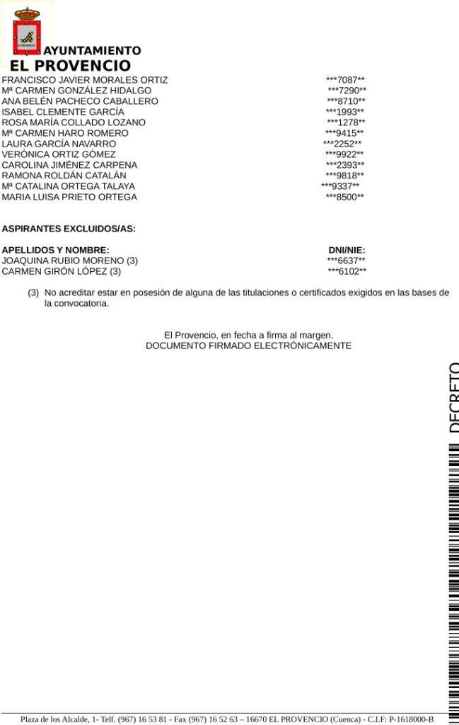 Listado definitivo admitidos excluidos proceso selectivo auxiliar/gerocultor vivienda de mayores.
