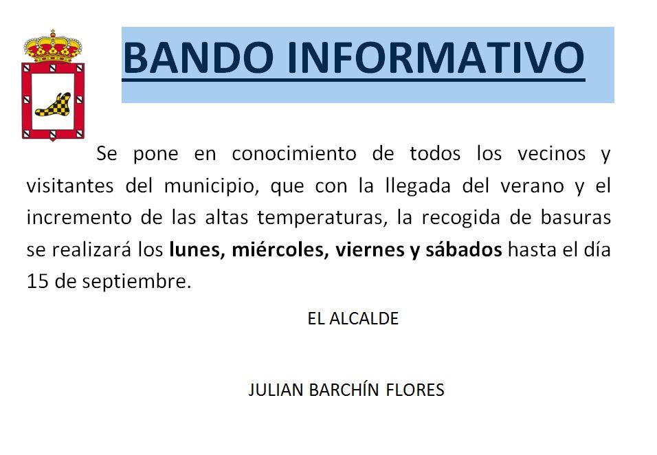 BANDO INFORMATIVO RECOGIDA DE BASURAS