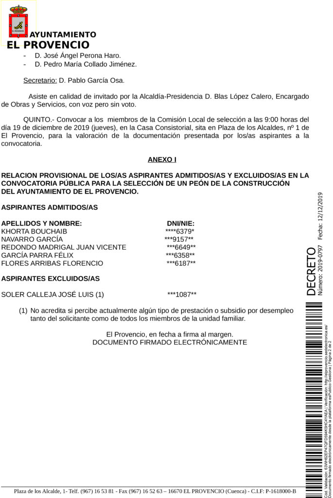 RESOLUCIONES ALCALDÍA APROBANDO LISTA PROVISIONAL ADMITIDOS Y EXCLUIDOS PLAN DE EMPLEO JCCM 2019 PARA LA CONTRATACIÓN DE PERSONAS DESEMPLEADAS Y EN SITUACIÓN DE EXCLUSIÓN SOCIAL – UN PEÓN DE LA CONSTRUCCIÓN Y TRES PEONES DE LIMPIEZA