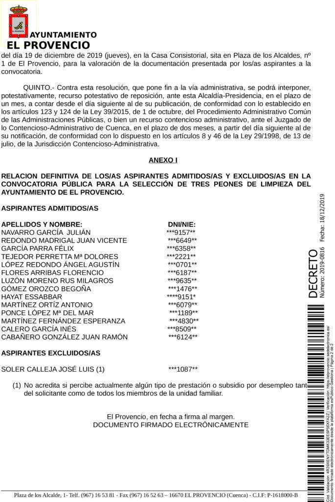 RESOLUCIÓN DE ALCALDÍA, ADMITIDOS Y EXCLUIDOS EN PROCESO DE SELECCIÓN
