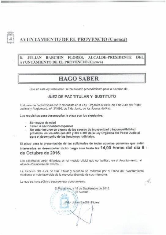 CONVOCATORIA JUEZ DE PAZ