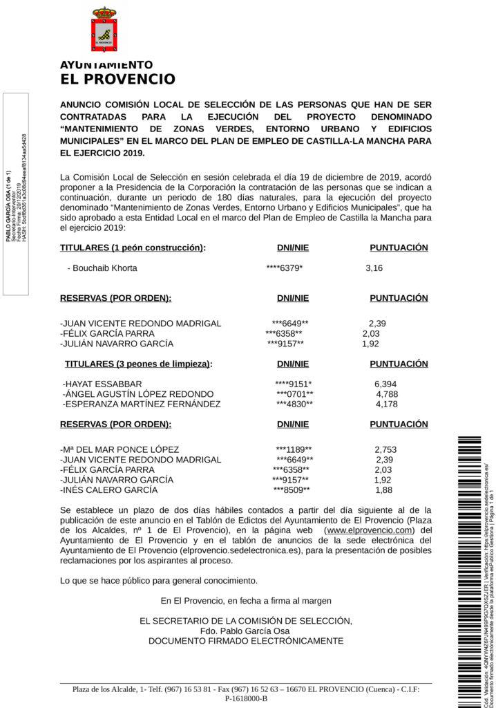 """ANUNCIO COMISIÓN LOCAL DE SELECCIÓN DE LAS PERSONAS QUE HAN DE SER CONTRATADAS PARA LA EJECUCIÓN DEL PROYECTO DENOMINADO """"MANTENIMIENTO DE ZONAS VERDES, ENTORNO URBANO Y EDIFICIOS MUNICIPALES"""" EN EL MARCO DEL PLAN DE EMPLEO DE CASTILLA-LA MANCHA PARA EL EJERCICIO 2019."""