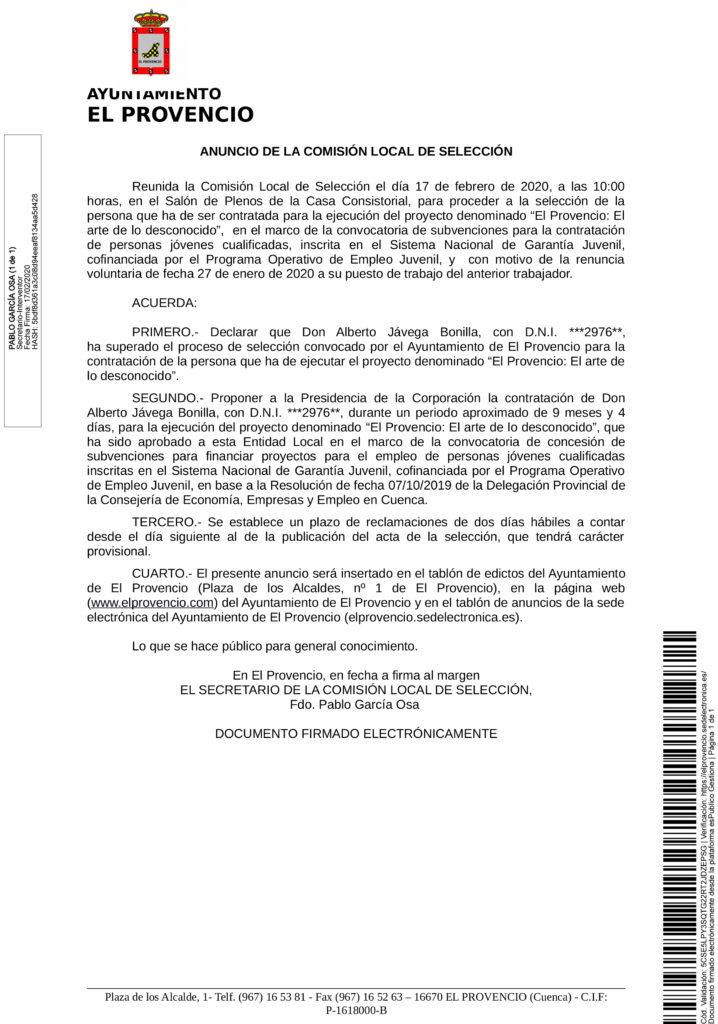 COMISIÓN DE SELECCIÓN DE PERSONAL